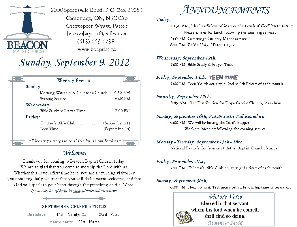 2012 09 09 weekly bulletin beacon baptist church for Weekly bulletin template