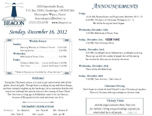 2012-12-16, Weekly Bulletin