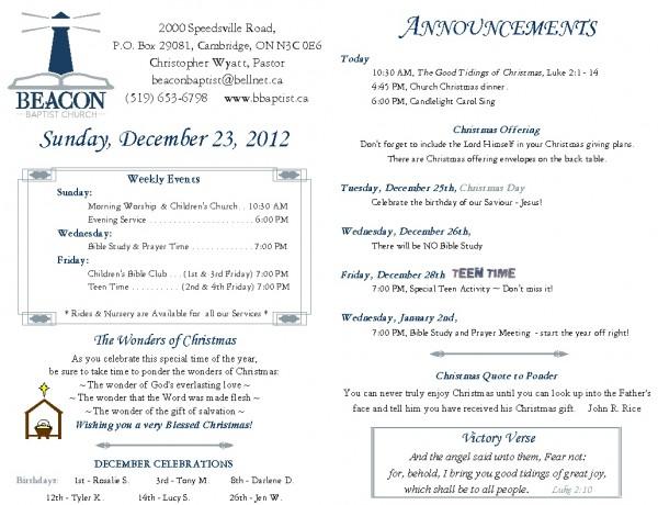 2012-12-23, Weekly Bulletin