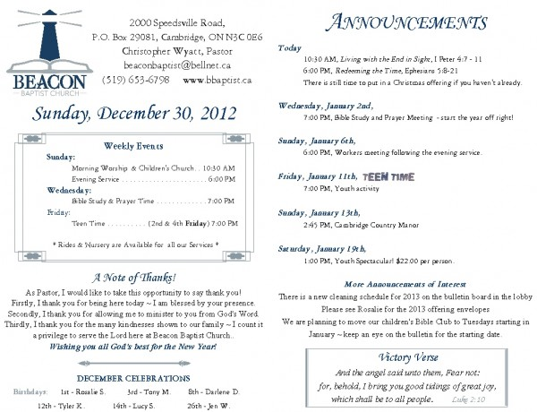 2012-12-30, Weekly Bulletin