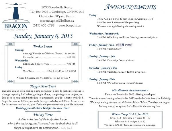 2013-01-06, Weekly Bulletin