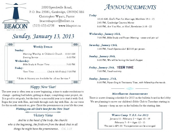 2013-01-13, Weekly Bulletin