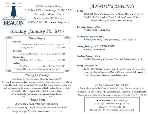 2013-01-20, Weekly Bulletin