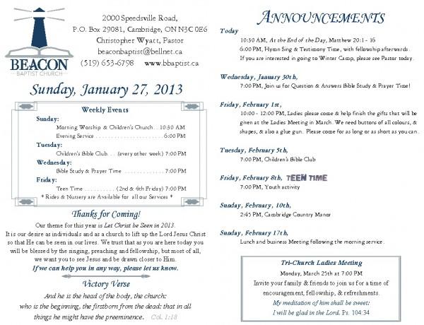 2013-01-27, Weekly Bulletin