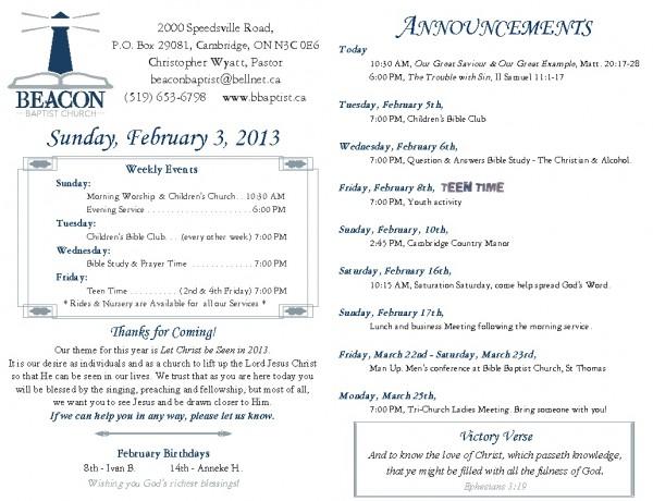 2013-02-03, Weekly Bulletin