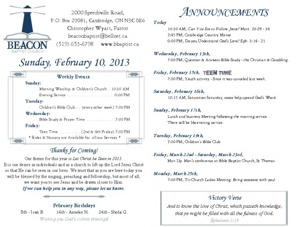 2013-02-10. Weekly Bulletin