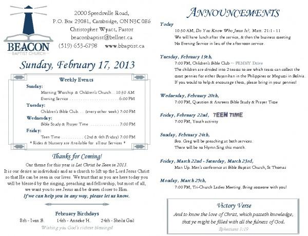 2013-02-17, Weekly Bulletin