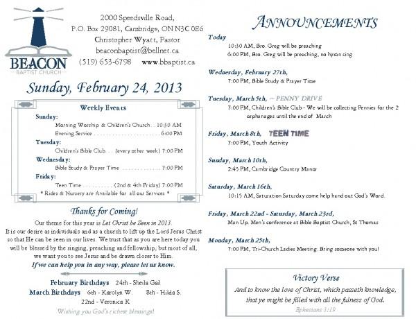 2013-02-24, Weekly Bulletin