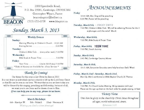 2013-03-03, Weekly Bulletin