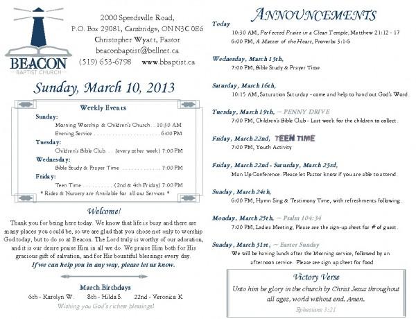 2013-03-10, Weekly Bulletin