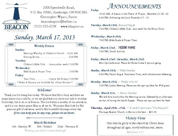 2013-03-17, Weekly Bulletin
