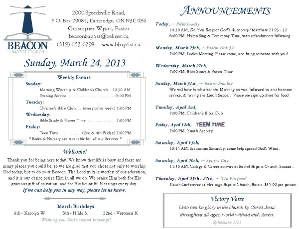 2013-03-24, Weekly Bulletin