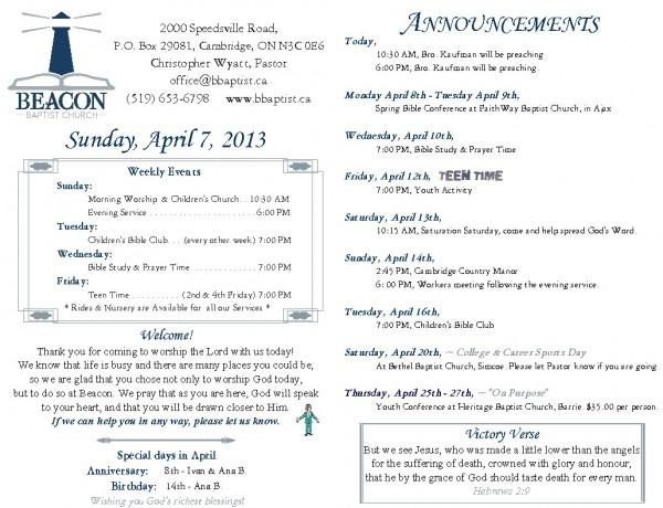 2013-04-07, Weekly Bulletin