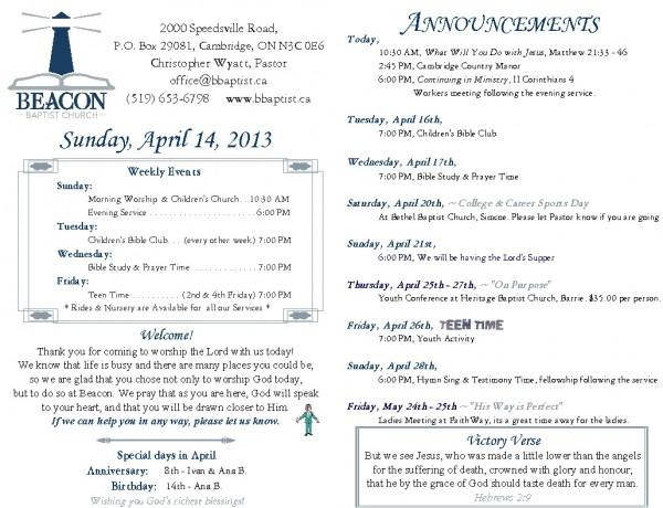 2013-04-14, Weekly Bulletin
