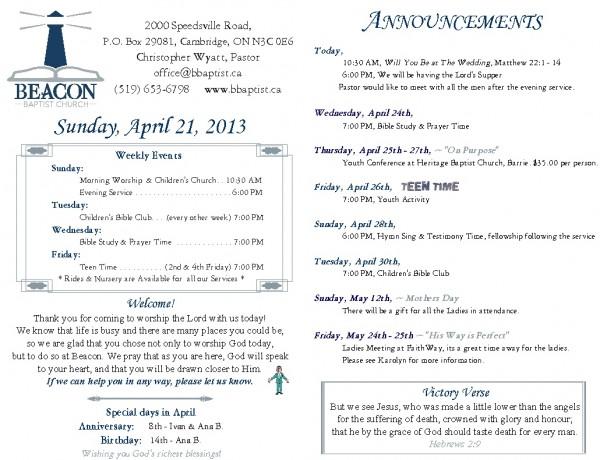 2013-04-21, Weekly Bulletin