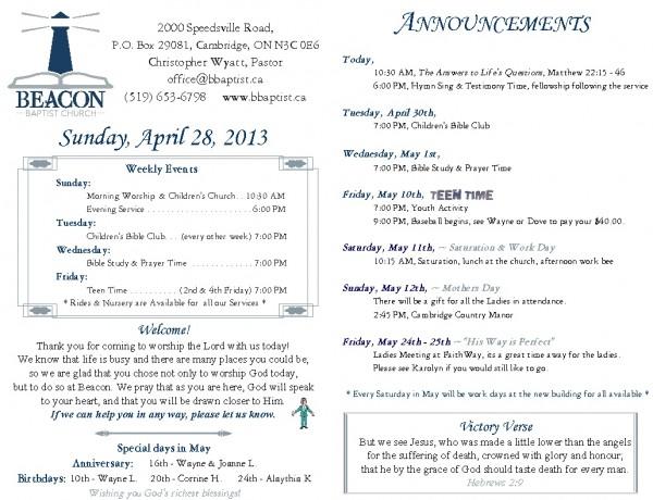 2013-04-28, Weekly Bulletin
