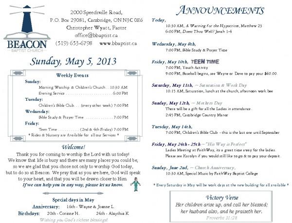 2013-05-05, Weekly Bulletin