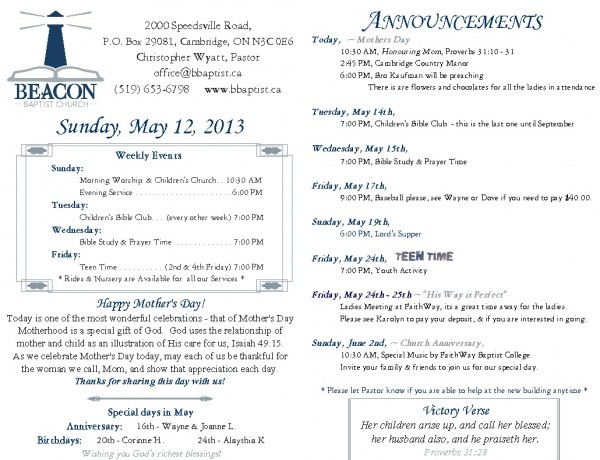 2013-05-12, Weekly Bulletin