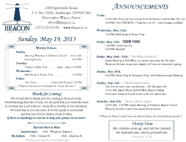 2013-05-19, Weekly Bulletin