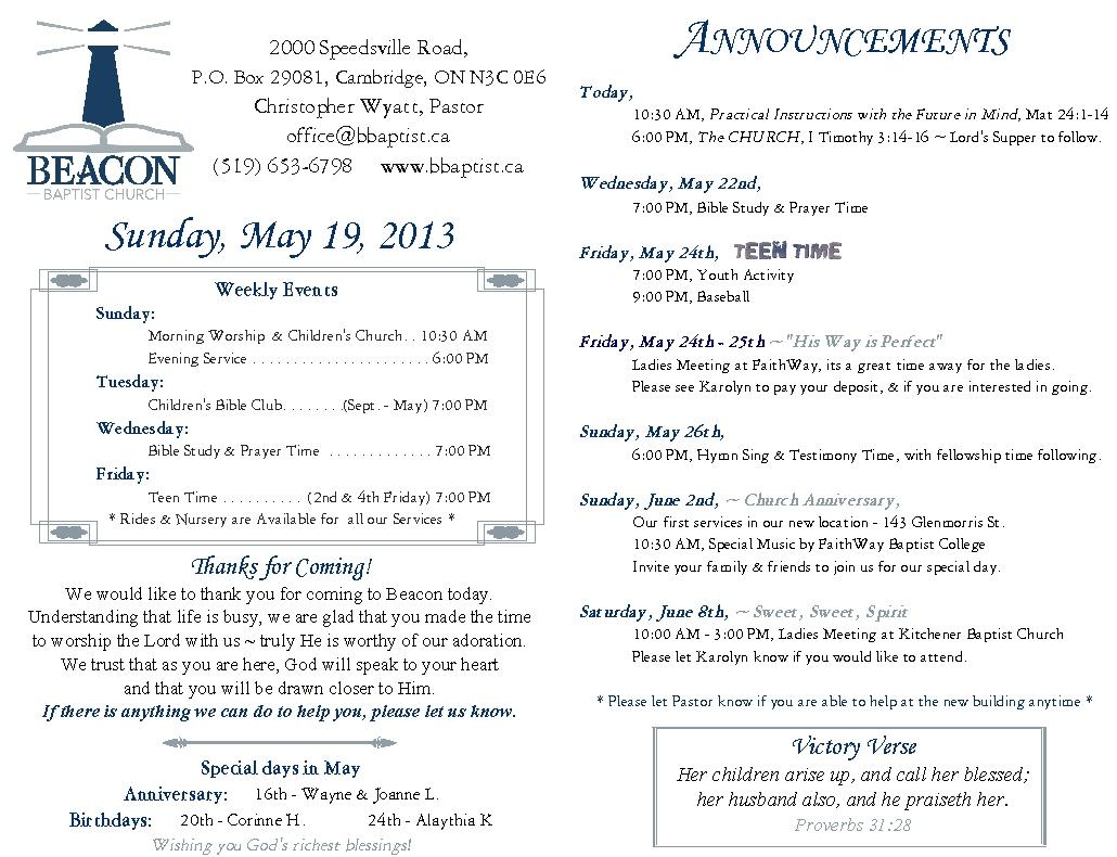 May 19th Bulletin – Beacon Baptist Church