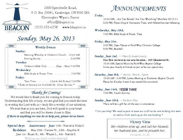 2013-05-26, Weekly Bulletin