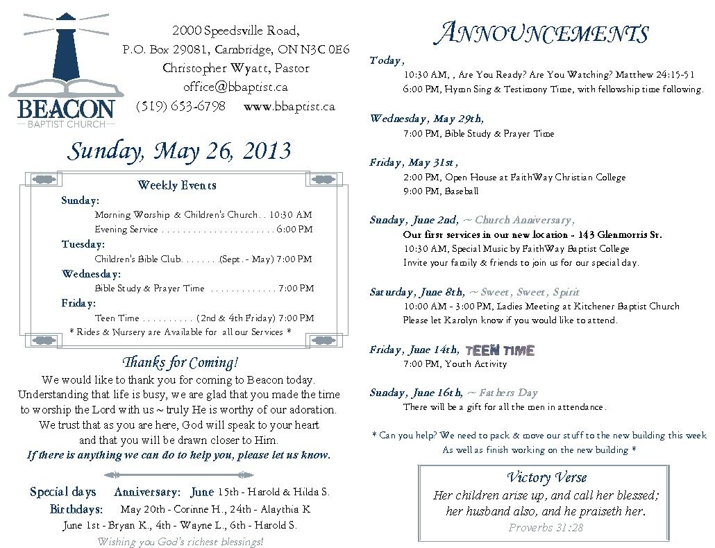 May 26th Bulletin – Beacon Baptist Church