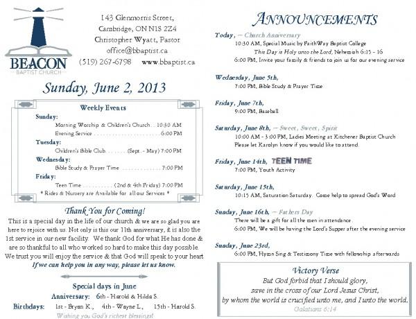 2013-06-02, Weekly Bulletin