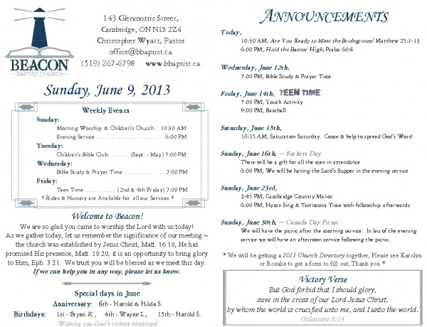 2013-06-09, Weekly Bulletin