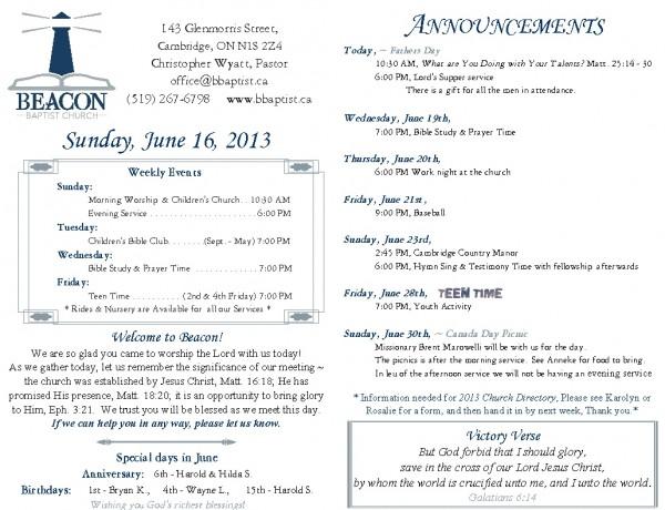 2013-06-16, Weekly Bulletin
