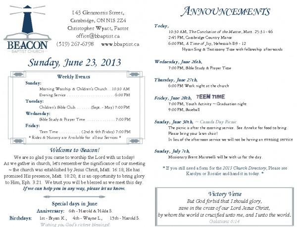 2013-06-23, weekly bulletin