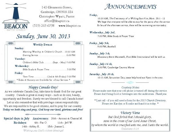 2013-06-30, Weekly Bulletin