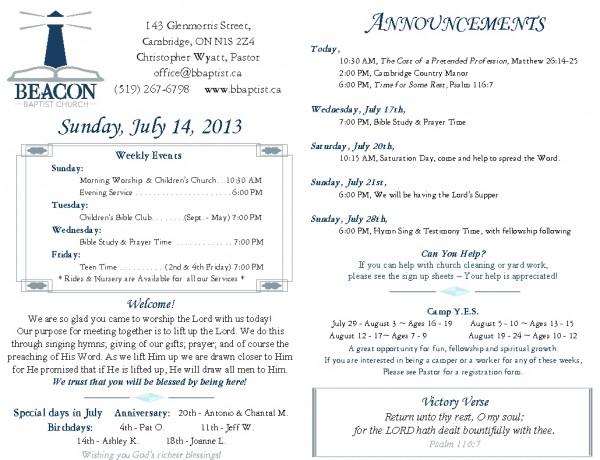 2013-07-14, Weekly Bulletin