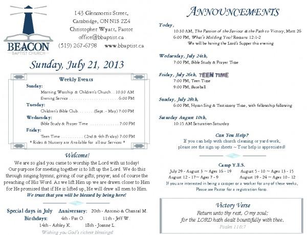 2013-07-21, Weekly Bulletin