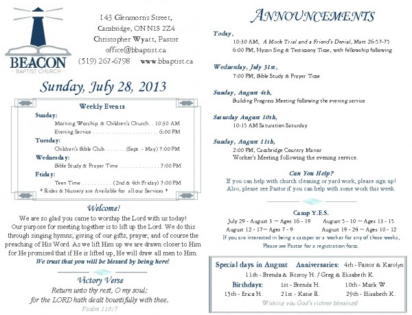 2013-07-28, Weekly Bulletin