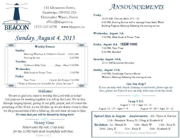 2013-08-04, Weekly Bulletin