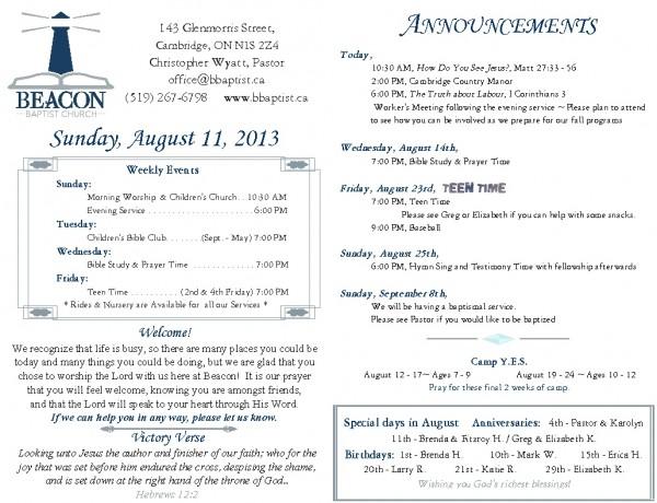 2013-08-11, Weekly Bulletin