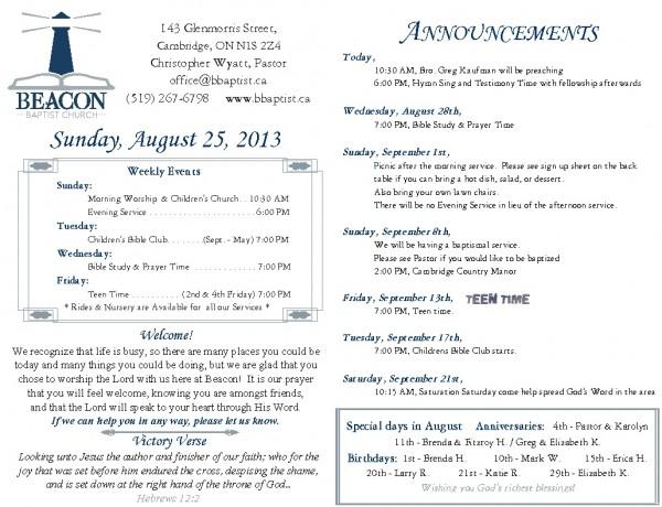 2013-08-25, Weekly Bulletin