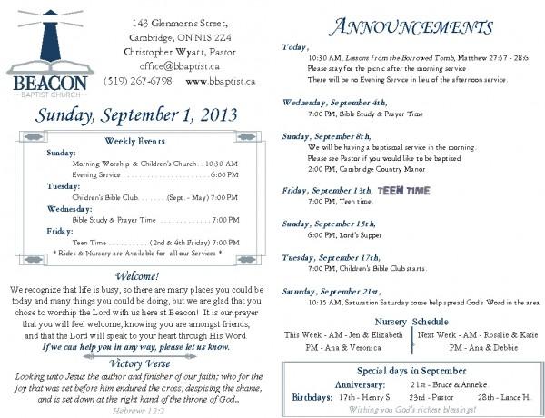 2013-09-01, Weekly Bulletin