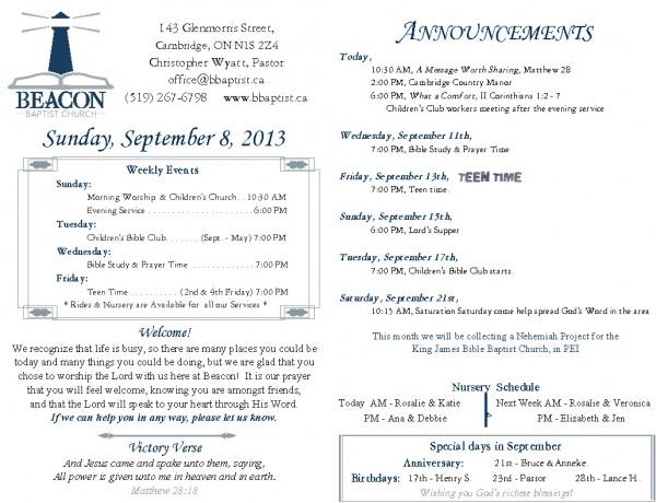 2013-09-08, Weekly Bulletin