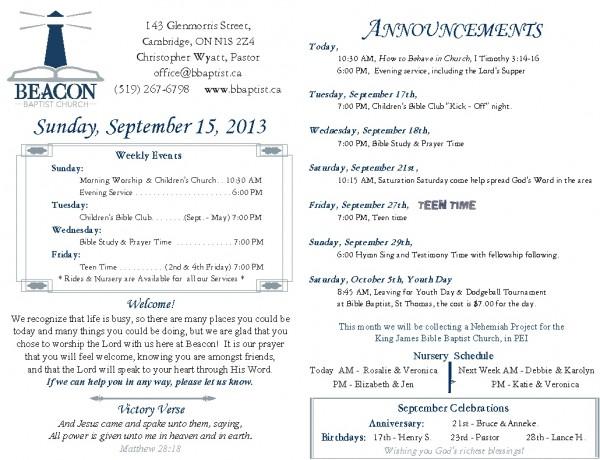 2013-09-15, Weekly Bulletin
