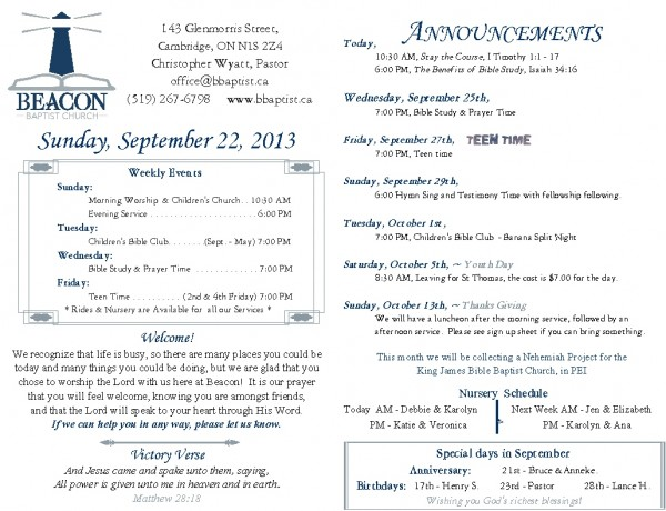 2013-09-22, Weekly Bulletin