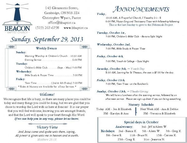 2013-09-29, Weekly Bulletin