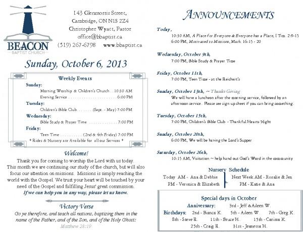 2013-10-06, Weekly Bulletin