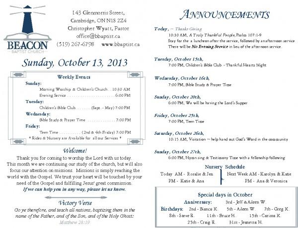2013-10-13, Weekly Bulletin