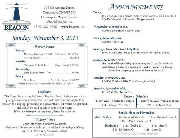 2013-11-03, Weekly Bulletin