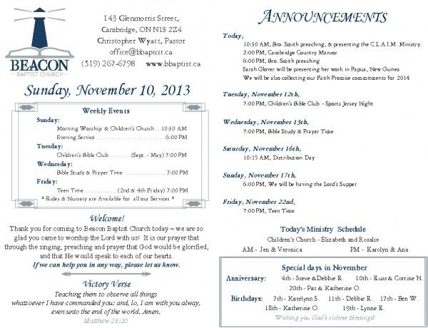 2013-11-10, Weekly Bulletin