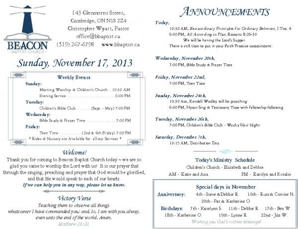 2013-11-17, Weekly Bulletin
