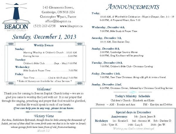 2013-12-01 weekly bulletin