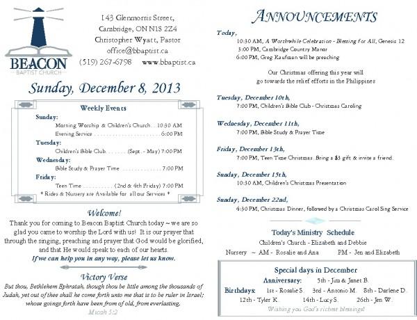 2013-12-08, Weekly Bulletin