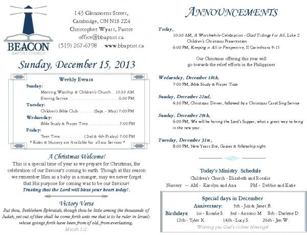 2013-12-15, Weekly Bulletin